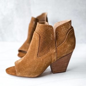 STEVEN Brown Suede Perforated Stacked Heel Booties Size 9.5